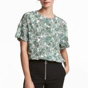H&M Blouse White Green Paisley 12 EUC